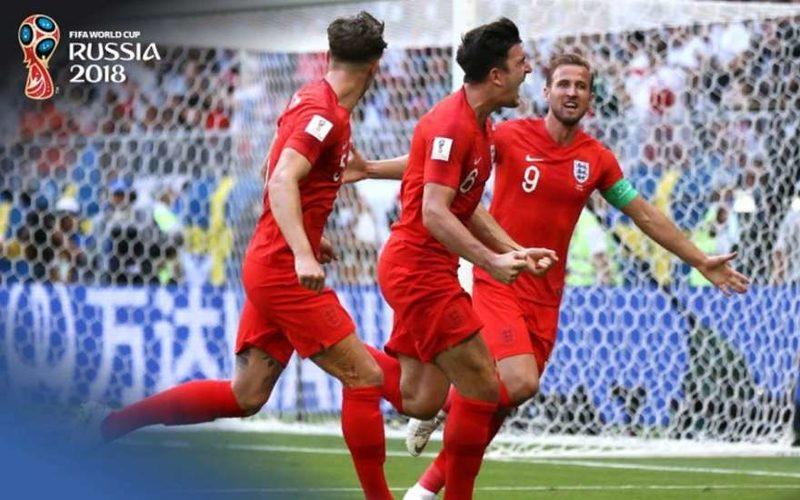 Сборная Англии после гола