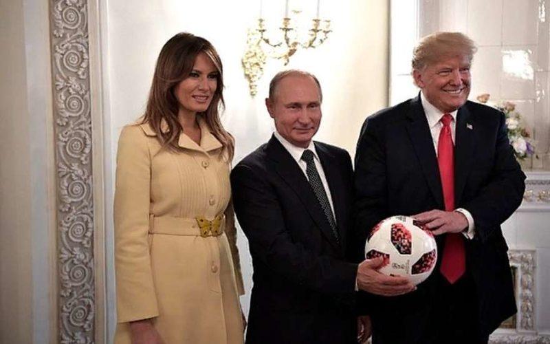 Мелания и Дональд Трамп на встрече с Путиным