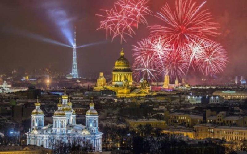 Салют на День ВМФ в Петербурге