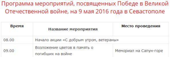 программа мероприятий на 9 мая, смотреть Парад Победы в Севастополе 2016
