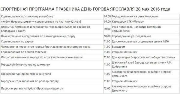 Программа празднования Дня города Ярославль 2016