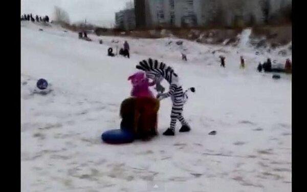 В Красноярске Лунтик, Лев и Зебра подрались с нетрезвым хулиганом