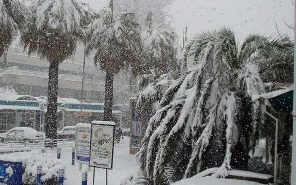 Снегопад парализовал движение транспорта в Сочи